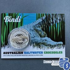 2013 $1 UNC BINDI SALTWATER CROCODILES SILVER FROSTED COIN