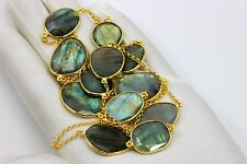Labradorite Necklace Bezel Set Large Chain Faceted AAA 14k gold plate 36 Inch