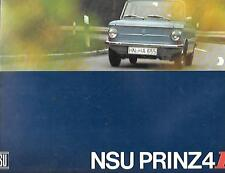 NSU PRINZ 4 AND 4L MODELS OVERSIZED SALES BROCHURE EARLY 70s UK MARKET