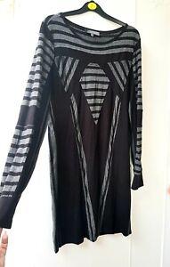 M&s Jumper Dress black and grey tunic dress top UK 14-16