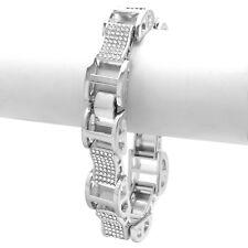 """Men's Silver Plated Dome Hollow Bracelet Clear Cz Link Hip Hop 9"""""""
