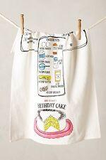 NWT Anthropologie Recipe Dishtowel Cotton Birthday Cake Eggs Flour Measuring Cup
