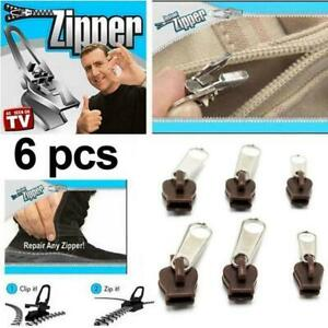 6Pcs Zipper Head Instant Repair Kit Replacement For Sewing Clothes DIY R7T9