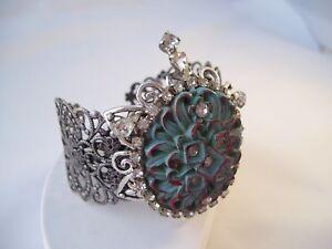 Repurposed Cuff Bracelet Lg Antique Button Rhinestones OOAK Hand Made Oval Blue