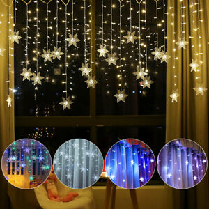 Christmas LED Curtain Snowflake Fairy String Lights Window Outdoor Xmas Party UK