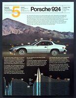 """1980 Porsche 924 Coupe photo """"Optimizes Aerodynamic Form"""" vintage print ad"""