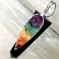 Black Tourmaline Crystal Chakra Pendant LARGE Sterling Silver Necklace CHARGED