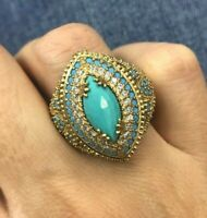 925 Sterling Silver Handmade Authentic Turkish Turquoise Ladies Ring Size 6-12