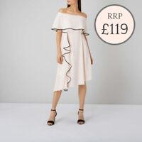 Ex COAST Amory Tipped Assymetric Soft Pink Frill Bardot Dress Size 6 -18 rrp£119