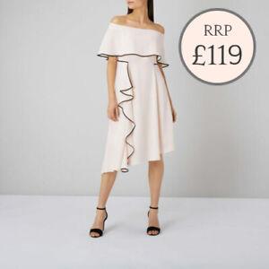 Ex COAST Amory Tipped Assymetric Soft Pink Frill Bardot Dress Short/Reg  rrp£119