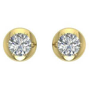 Round Cut Diamond I1 G 0.30 Ct Solitaire Studs Earrings Natural 14K Yellow Gold
