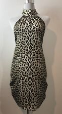 ALICE + OLIVIA ANIMAL PRINT HALTER NECK DRESS SIZE XS COCKTAIL / EVENING