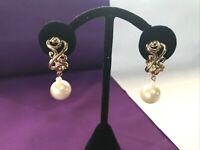 Estate Vintage Large Dangle Drop Ball Faux Pearl Earrings Clip On Wedding    EE8