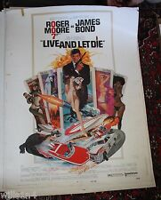 1973 rare rolled original Movie Poster Live & Let Die James Bond Roger Moore