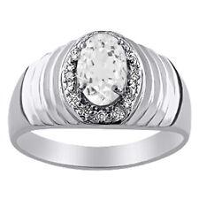 White Topaz & Diamond Ring 14K White Gold