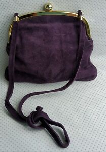 Unbranded women's bag cross body small size purple colour suede