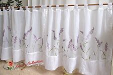 """TWO Pretty Embroidered Sheer Cafe/Tier Curtain~White~44""""*22""""~Lavender's Waiting~"""