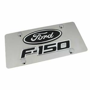 Ford Oval Dual Logo F150 License Plate (Black on Chrome)
