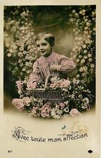 Ste Catherine~Little Boy in Flower Bower~Pinstripe Shirt~Colorized RPPC~1908