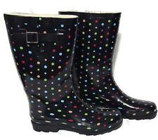 Merona Womens Rain Boots  Rubber Multi Color Polka Dot Size 9