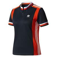 adidas ORIGINALS WOMEN'S OSAKA ARCHIVE T-SHIRT NAVY RED RETRO VINTAGE CYCLING S