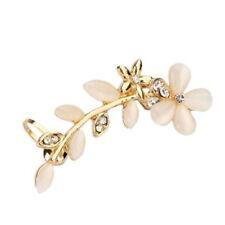 Women Cat's Eye Flower Style Crystal Ear Clip Fake Piercing Cuff Earrings