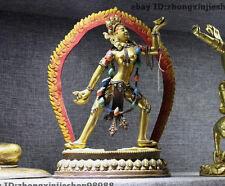 Tibet Buddhism Pure Bronze 24K Gold painted Simhamukha Vajravarahi Buddha Statue