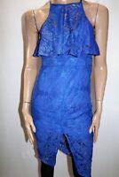 Blossom Brand Royal Blue Lace High Neck Bodycon Dress Size 10 BNWT #TA116