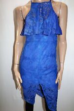 Blossom Brand Royal Blue Lace High Neck Bodycon Dress Size 10 BNWT #TA116