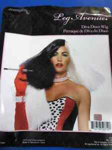 Disco Diva Wig Cruella Witch Fancy Dress Up Halloween Adult Costume Accessory