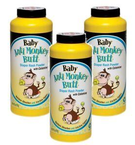 3 Anti Monkey Butt Baby Powder Pain Itch Calamine Friction 6oz Absorb Moisture