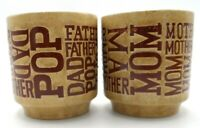 Mom Mother & Father Dad Set of 2 Vtg Coffee Tea Cups Mugs Japan Speckled Pottery