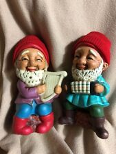 "Vtg -2 Gnome Playing Instrments Accordian Harp Figurines, Knit Hats 5""detailed"