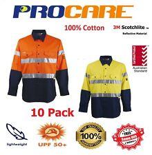 10 x Hi Vis Work Shirt cotton drill Long Sleeve 3M ref Tape Free Logo ProCare