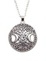 """Triple Moon Tree Of Life Pentacle Pendant Pagan Silver 18"""" Chain Necklace"""
