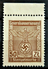 1939 / 1945 WW2 REAL 3rd REICH GERMANY OFFICIAL STAMP GG 50 zl RARE WITH MARG
