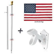 2x3 ft Embroidered Flag Set/6ft Aluminum Sliver Flagpole Gold Ball &White Bracke