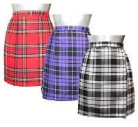 Womens Tartan Pleated Wrap Over Skirt Ladies 18 Inches Buttoned Kilt Short Skirt