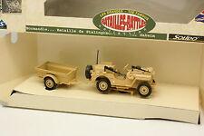 Solido Militaire 1/43 - Jeep du désert + remorque Sable