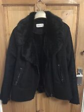PER UNA Worn twice ladies size 12 faux suede jacket black