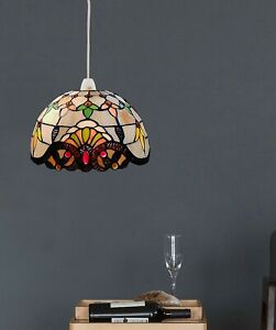 """Tiffany Pendant Lampshade Stained Glass Jewelled Easy Fit Multi Colour 10"""" Shade"""