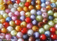 100 x 8mm Round Beads Acrylic Faceted Mixed Colours - ABRTM8MM
