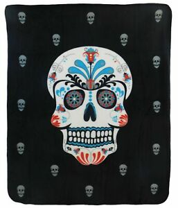 Octopus Skull Gothic Goth Sherpa Plush Throw Blanket Fleece Bed Sofa Couch