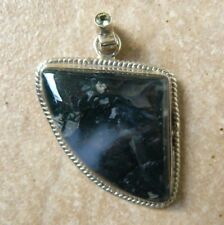 Moss Agate Pendant Translucent Green Gemstone with Faceted Peridot accent stone