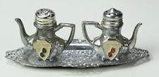 Vintage miniature metal souvenir TEAPOT LAS VEGAS salt & pepper shakers