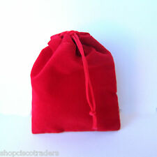 *THREE BAGS* RED Velour Drawstring 7x9cm QTY3 Wedding Party Favors A080