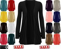 New Ladies Long Sleeve Boyfriend Two Pocket Open Cardigan Womens Top sizes 8-14
