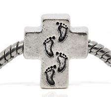 Footprints In The Sand Cross Religious God Jesus Charm for European Bracelets