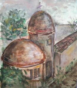 VINTAGE IMPRESSIONIST WATERCOLOR PAINTING LANDSCAPE CHURCH