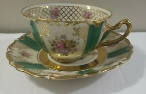 Antique Winterling Bavaria Germany Green Gold Tea Cup And Saucer